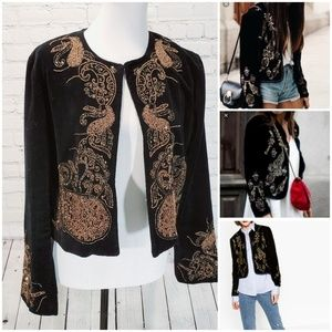Zara velvet beaded bronze embellished jacket blaze